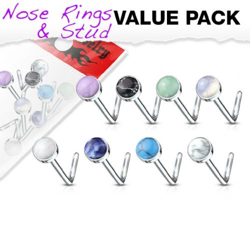 8 Pack of Nose Bone Studs with Semi Precious Stones